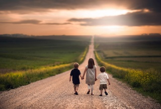 children, walk, macro, photo, theme, nature, the sky, clouds, the sun, sunset, boys, girl, the situation, positive