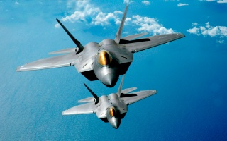 F 22 raptor, airplanes, fighters, photo, flight, background, the ocean, clouds, PAIR