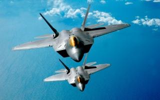 Ф 22 Раптор, літаки, винищувачі, фото, політ, фон, океан, хмари, ПАРА