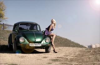 blonde, dress, figure, Car, beetle