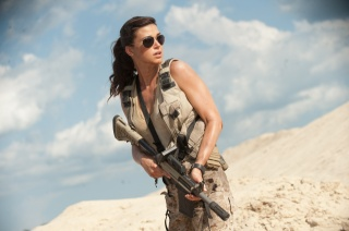 adrianne palicki, actress, the film, weapons, sand, the sky, clouds