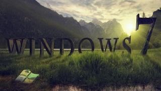 Windows 7, program, spořič obrazovky, tráva, žába, hory, západ slunce