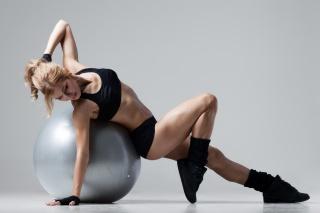 спорт, фітнес, куля, м'яч, дівчина, спортивна форма