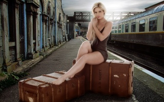 girl, suitcases, station