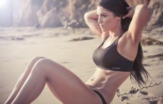 Eva Marie, brunette, sports, photo, the beach, sand, rock, stones, piercing