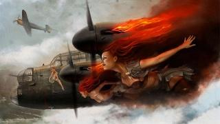 Avro Lancaster, britský, těžký, четырехмоторный, bombardér, ww2, letadlo, pin ap, angus glen, dívky