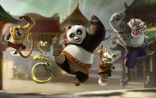 kung-fu panda, panda, opice, had, lemur, Leopard, kreslený, animace, kung fu panda