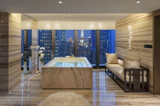 interior, Style, Design, beige, bathroom, Jacuzzi, sofa, vase, flowers, window, view, the city, Pudong, Shanghai