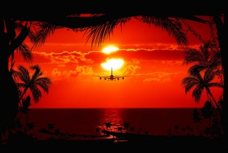 the sky, clouds, sunset, the sun, the plane, Liner, sea