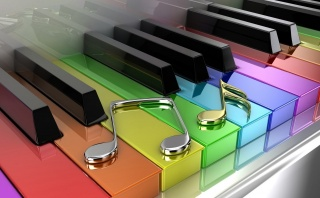 music, notes, keys, the piano, rainbow, art, work