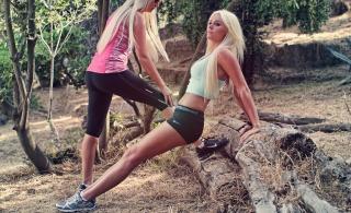 девушки, ситуация, спорт, здоровье, блондинка