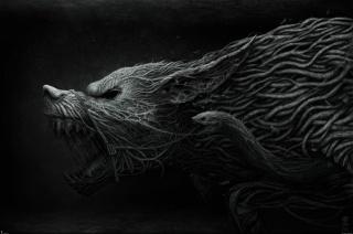 Фенрир, оскал, переплетения, волк
