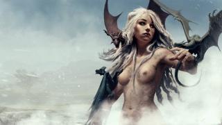 девушка, грудь, дракон, крылья, фэнтези