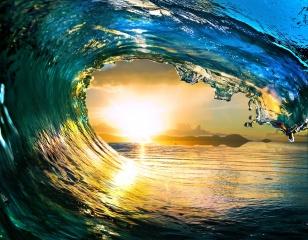 вода, волна, море, фотошоп, берег, солнце, закат, лето