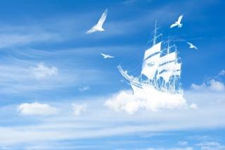 the sky, clouds, ship, The ship, yacht, bird, birds