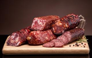 колбаса, мясо, нарезка, разрез, вкусная, аппетитная, много, на столе
