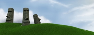 Easter island, grass, the sky, Statues