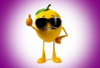 lemon, positive, background, violet, smile, glasses, 3d, beautiful, lemon, smile