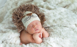 дитина, малюк, львенок, ситуація, сон, діти, красиво, хутра