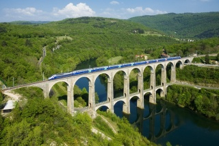 France, the bridge, aqueduct, train, greens, mountains, river, the sky, beauty