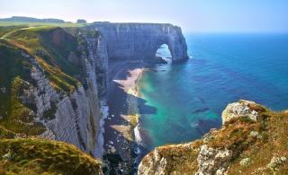 природа, берег, Нормандия, Франция, скалы, камни, море, красиво, лето