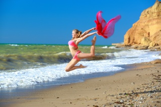 художественная гимнастика, алессандра, бикини, море