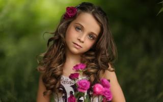 портрет, девочка, розы