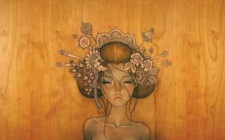 девушка, дерево, рисунок