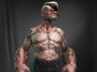 Popeye, Popeye The Sailor, tattoo, Tube, black background