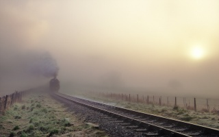 railway, fog, train