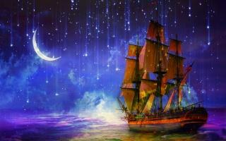 корабль, парусник, море, ночь, полумесяц, звёзды