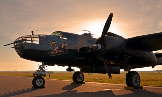 Military, historical, club, the plane, B-25 Mitchell, B-25 Mitchell, North American, North American, American, twin-engine, all-metal, bomber, medium, radius, action, AIRBRUSH, the lend-lease, sunset, Parking, times, the second world