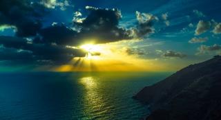 природа, горы, скалы, океан, небо, солнце, закат, красиво, тема, лето