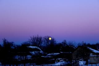 зимовий вечір, зима, місяць