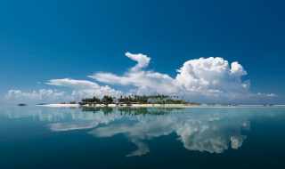 остров, океан, природа, курорт, отдых, небо, облака, вода, отражение, лето