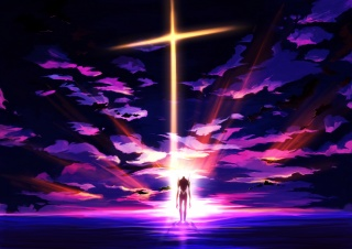 art, craft ghost, Anime, neon genesis evangelion, eva 01, ROBOT, fur, sunset, the sky, clouds