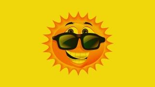 slunce, brýle, svítí, žlutá, úsměv