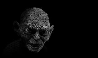 Властелин колец, Голлум, Горлум, лицо, надпись, темно фон