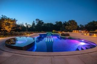 desigens, luxusní, bazén, bazén, jacuzzi, stromy, večer