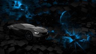 автомобиль, пространство, планета, синий, черный, площадь, оказание, Фон