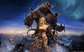 Гильдии войны:глаз Севера, девушка, медведь, Фентези