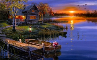 Darrell Bush, duck, sunset, the lake, boat, landscape, autumn, the house