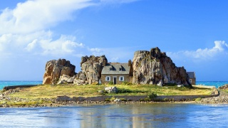 house and comfort, island, sea, rock, nature, the sky, clouds