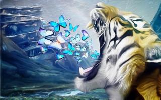 tygr, motýli, padnu, za řev