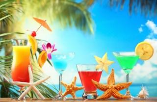 коктейли, лето, коктейли, макро, пальмы, пляж, природа, тема, вкусно