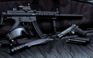 weapons, ammunition, SWAT, the dark background