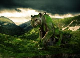 fantasy, příroda, tvůrčí, photoshop, dravec, vesnice, příroda, hory, nebe, mraky, zataženo, les