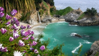 nature, mountains, rock, flowers, nature, beautiful, waterfall, the ocean, the beach, stones, Paradise