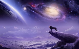 3d, art, fantasy, picture, space, planet, stars, lion, 3D