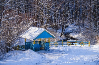 альтанка, лід, сніг, ліс, зима, сонце, красиво